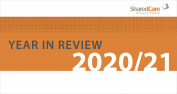 """The header from the Shared Care Committee's Year in Review report, with the words """"Year in Review 2020/21"""""""