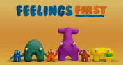 """Cheerful, colorful characters with the words """"Feelings first"""" above"""
